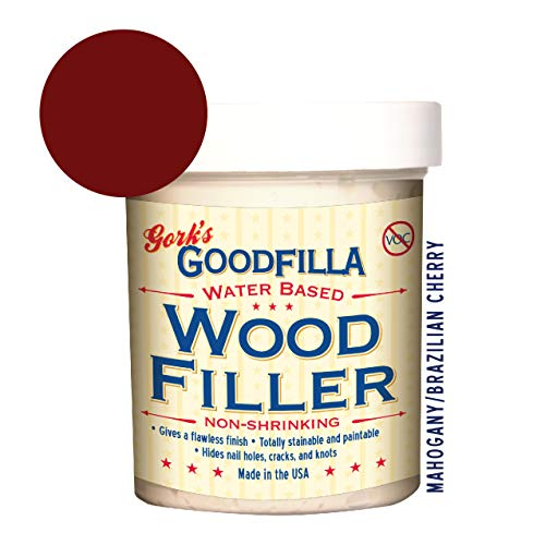 Water-Based Wood & Grain Filler - Mahogany - 8 oz By Goodfilla | Replace Every Filler & Putty | Repairs, Finishes & Patches | Paintable, Stainable, Sandable & Quick -