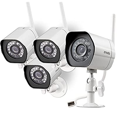 Zmodo Smart Wireless Security Cameras- 4 Pack- HD Indoor/Outdoor WiFi IP Cameras with Night Vision Easy Remote Access from Zmodo