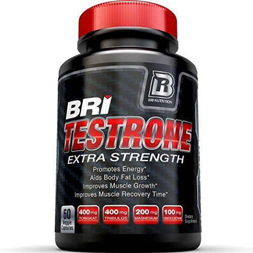 BRI Nutrition Testrone Supplement With Diindolylmethane, Tongkat Ali, Tribulus Terrestris, Magnesium Sulfate Anhydrous, Boron & Zinc - 30 Day Supply - 60 Capsules