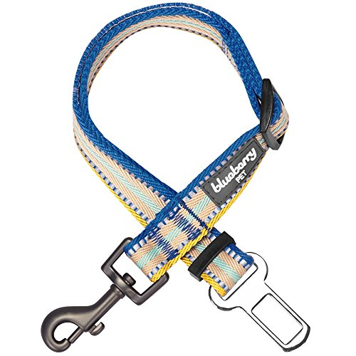 Blueberry Pet New 3M Reflective Multi-Colored Stripe Adjustable Dog Seat Belt Tether for Dogs Cats, Ginger and Blue, Durable Safety Car Vehicle Seatbelts Leads Use with Harness