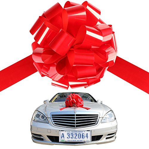 Big Red Car Bow Ribbon Pull Bows Presents Large Christmas Bows Automobile Bow Thick Giant Ribbon Tie Waterproof For Gars & Huge Gifts - Red Bow Oversized