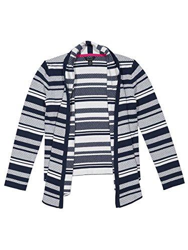 Tommy Hilfiger Girls' Big Jacquard Stripe Sweater, Medium Navy, X-Large