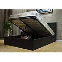 GREATIME BS1111-2 Full Size Black Leatherette Storage Bed; Full Size, Black Storage Bed