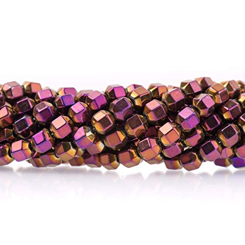 - 6mm Faceted Hexagon Hematite Beads, Purple Gold Titanium Plated, 6mm ghe0105 Jewelry Making Supplies Set Crafts DIY Kit