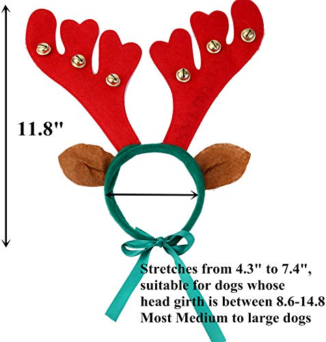 JPB Reindeer Antlers Headband for Dog and Christmas Doggie Scarf Set - http://coolthings.us