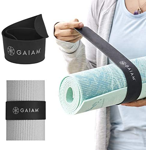 "Gaiam Yoga Mat Strap Slap Band - Keeps Your Mat Tightly Rolled and Secure, Fits Most Size Mats (20"" L x 1.5"" W), Black"