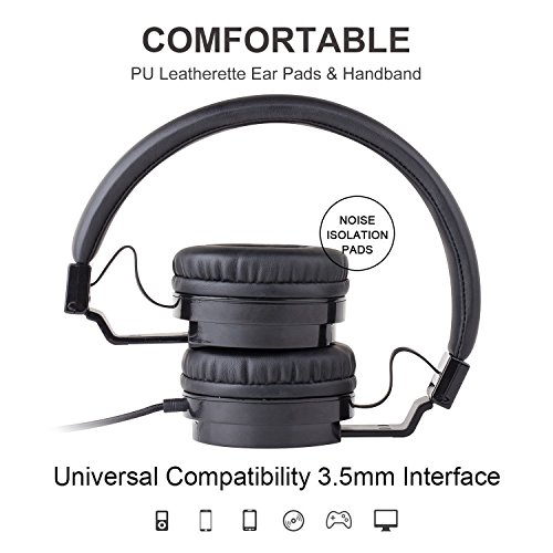 Picun Wired Headphones with Microphones for Computer Smartphones Tablet Laptop MP3/4,Earphones Over Ear Stereo Headsets with Deep Bass for Kids Teens Adults Black by Picun (Image #3)