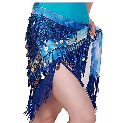 MUNAFIE Belly Dancing Belt Colorful Waist Chain Belly Dance Hip Scarf Belt Triangle Skirt (Navy)]()