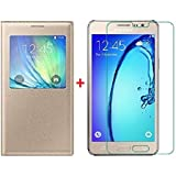 Sun Tigers Windows Leather Flip Case Cover For Samsung Galaxy On7 Pro Flip Cover (Gold Glolden) + Tempered Glass Mobile Screen Protector
