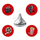 MAGJUCHE Movie Night Candy Stickers, Cinema Theater Hollywood Themed Birthday Party Stickers Label, Fit Hershey's Kisses, 304 Count