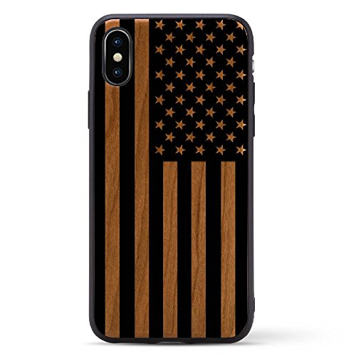 Black Print Cherry Wood Case For iPhone X/10 2017 version Compatible with New iPhone X Rubber Grip Bumper Screen Protection Natural Wood | Model - Priority Tracking Have Does Usps