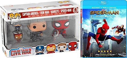 Spider-Man Hawkeye Figure & Homecoming Blu-Ray + DVD Movie Bundle Funko Bobble-Head & Keychain Multi Pack