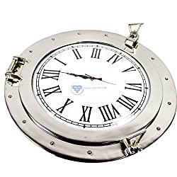 Premium Silver Lined Aluminum Nickel Coated Nautical Ship's Porthole Window ! Maritime Wall Decor Mirror | Exclusive Christmas Present | Nagina International (15 Inches, Clock)