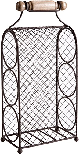 Home Essentials & Beyond Chicken Wire 3-Tier 15 In. Tabletop Wine Rack For Counter Holds 3 Bottles With Handle Bar, Wine Bottle Holder Free Standing Wine Storage Rack (Three Bottle Wine Rack)