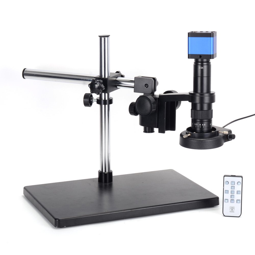 HAYEAR 16MP HDMI Microscope Camera Kit for Industry Lab PCB USB Output TF Card Video Recorder +180X C-Mount Lens + Big Stereo Stand +144 LED Light by HAYEAR