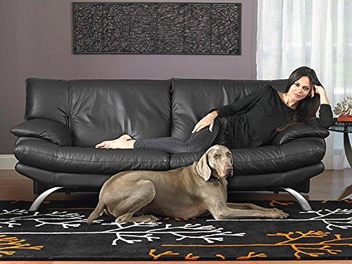 Calia Maddalena–Sofa in Leder Brooklyn, Leder geschliffen Für 4 Personen Pelle Smerigliata Rosso Ferrari
