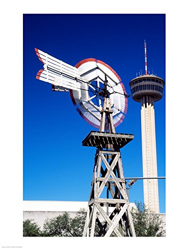 - USA, Texas, San Antonio, Tower of The Americas and Old Windmill Art Print, 17 x 22 inches