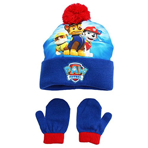 PAW Patrol Nickelodeon and Nick Jr. Boys Winter Hat and Mitten Set Blue Toddler