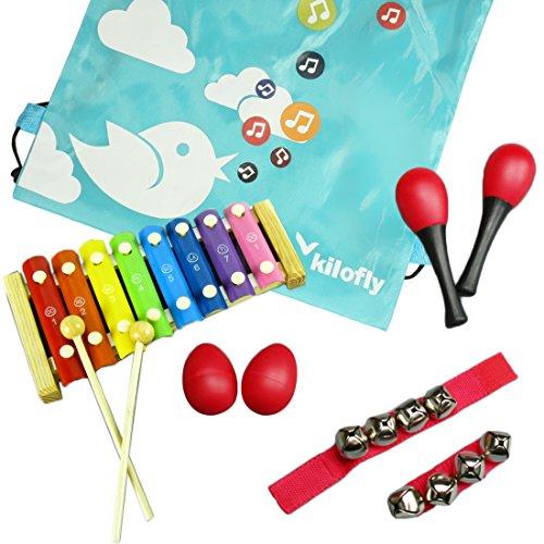 kilofly Mini Band Musical Instruments Value Pack, Xylophone + 6 Rhythm Toys [2 Maracas, 2 Egg Shakers, 2 Wrist Bells, Red]