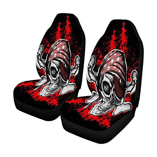 INTERESTPRINT Jolly Roger Pirate Symbol with Crossed Daggers Car Seat Cover Front Seats Only Full Set of 2, Bucket Seat Protector Car Seat Cushions for Car, SUV, Truck or Van