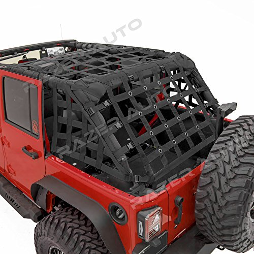 Cargo Restraint System - Razer Auto 4 Door Model Only Black Cargo Restraint Net System Trail Cargo Net (Black) for 07-18 Jeep Wrangler JK
