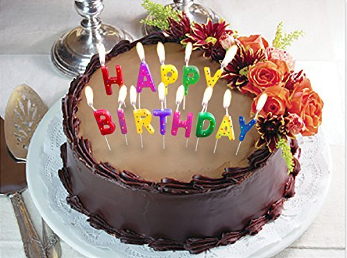 Glitter /& Polka Dots Cake Toppers Decor Hut Happy Birthday Candles Multi-Colored Toothpicks for Easy Inserting