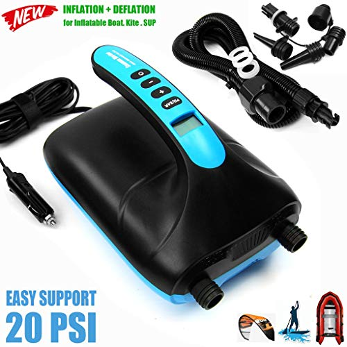 SEAMAX 20PSI SUP Electric Air Pump, Double Stage for Inflation and Deflation, Additional 5 Valve Fittings Included