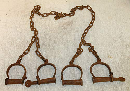 - US Trading Post Replica Antique Style Rusty Iron Prisoner Colonial or Pirate Jailer Cuffs - Functional Handcuffs & Leg Irons Cuffs with Key