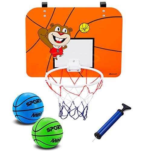 - Mini Basketball Hoop with 16 x 12 Inch Over The Door Mount Shatterproof Backboard, Includes 2Pcs 6.5 Inch Bright Colors Balls and Pump, Fun Play Basketball System For Kids and Adult