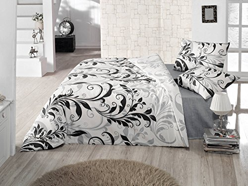 LaModaHome Design Duvet Cover Set, 65% Cotton 35% Polyester - Black Leafs Patterned, Black and Shadow - Set of 3 - Duvet Cover and 2 Pillowcases for King Bed (Patterned Black Duvet Cover)