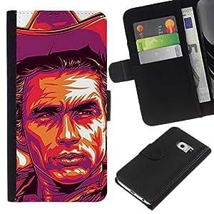 All Phone Most Case / Oferta Especial Cáscara Funda de cuero Monedero Cubierta de proteccion Caso / Wallet Case for Samsung Galaxy S6 EDGE // Cowboy Poster Purple Wild West