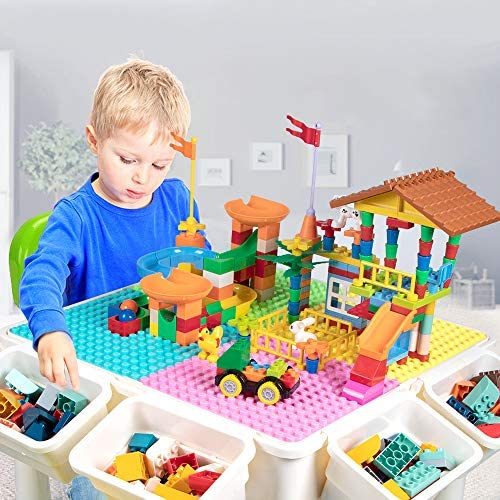 Upgrade Toddler Activity Table, Kids Table & Chair Set With 230PCS Building Blocks All-in-One Multi Activity Playset And Water Table Sand Table, Versatile Toys For Toddlers 2 3 4 5 Year Old