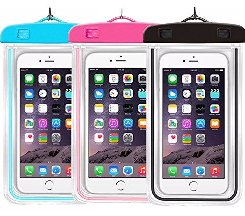 "Price comparison product image Universal Waterproof Case,iBarbe Cellphone Dry Bag Pouch for iPhone 7 6s 6 Plus SE 5s 5c 5, Galaxy s8 s7 s6 edge, Note 5 4, LG G6 G5,HTC 10,Sony Nokia,diagonal Devices up to 5.7""(blue+pink+black)"
