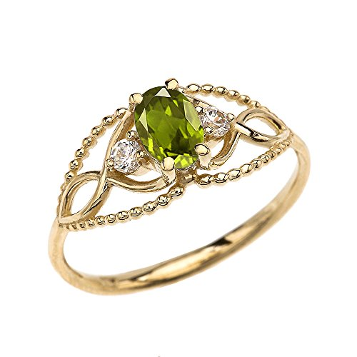 14k Yellow Gold Elegant Beaded Solitaire Ring With Peridot and White Topaz(Size 9) 14k Yellow Gold Modern Design