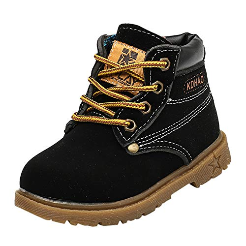Toddler Baby Boys Girls Autumn Winter Martin Boots Shoes for 1-6 Years Old,Child Kids Solid Lace-Up Warm Sneakers (12-18 Months, Black) ()