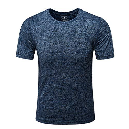 Unita O Felpe shirt Elastica Estate Camicetta Fast Abbigliamento Tinta Casuale colloFitness T Top Scuro Uomo Sport Toamen Traspirante Blu dry 8PXn0Okw