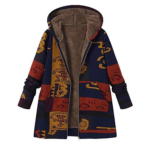 JESPER Women Hooded Fleece Lining Cotton Linen Print Fluffy Fur Zipper Coat Outwear Blue