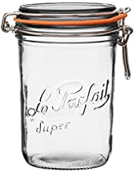 Le Parfait Super Terrine - 1L French Glass Canning Jar w/Straight Body, Airtight Rubber Seal & Glass Lid, 32oz/Quart (Single Jar) Stainless Wire