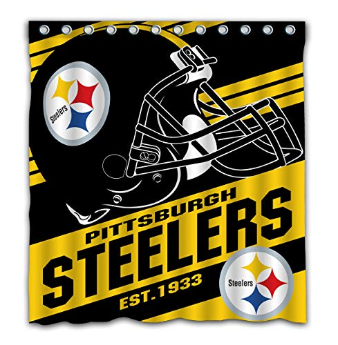 Potteroy Pittsburgh Steelers Team Stripe Design Shower Curtain Waterproof Polyester Fabric 66x72 Inches