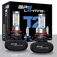 BPS Lighting T2 LED Headlight Bulbs Conversion Kit - 50W 8000 Lumen 6000K 6500K - Cool White - Super Bright - Car and Truck High and Low Beam - All-in One - Plug and Play … (9005/HB3)