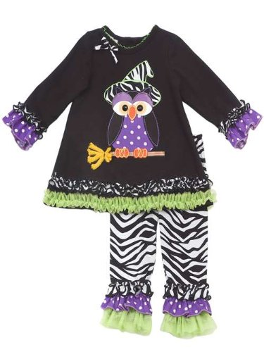 Rare Editions Girls Halloween Owl Dress Outfit Set