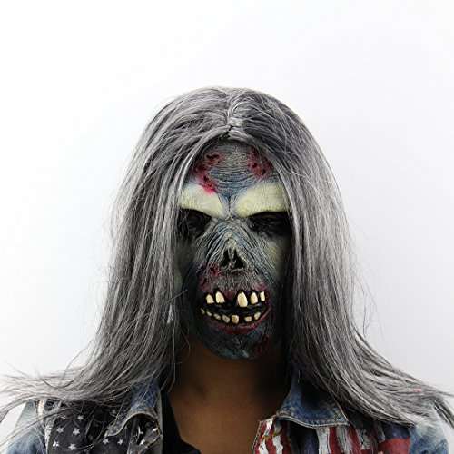 Smiley Face Killer Costume (Homeditor Scary Zombie Mask for Halloween Costume party,Latex Creepy Toothy Ghost mask with Long Hair Suitable for Adults and Teenagers)