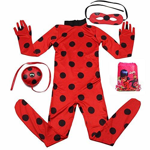 Labu Store Ladybug Kids Costumes Girls Women Children Girl Miraculous Ladybug Girl Halloween Fancy Dress With Glasses And Bags by Labu Store