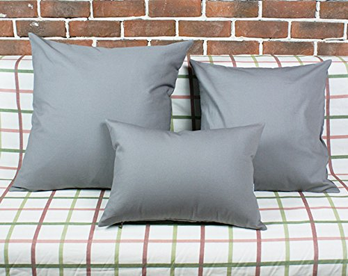 """TangDepot Cotton Solid Throw Pillow Covers, 12"""" x 20"""" , Gray"""