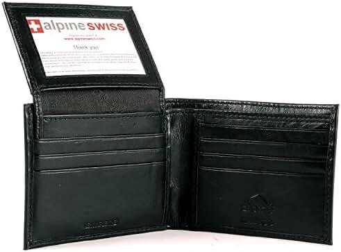 Alpine Swiss Men's Leather Wallet 2-In-1 Bifold Flip up Removable Card Case