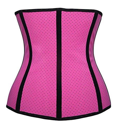 Jovani Zebra Dress (BABY-QQ Comfortable Latex Underbust Mesh Corset Waist Training Cincher 9 Steel Boned Sport Girdle Body Shaper for Weight Loss ,Pink ,3XL(Fit Waist 35