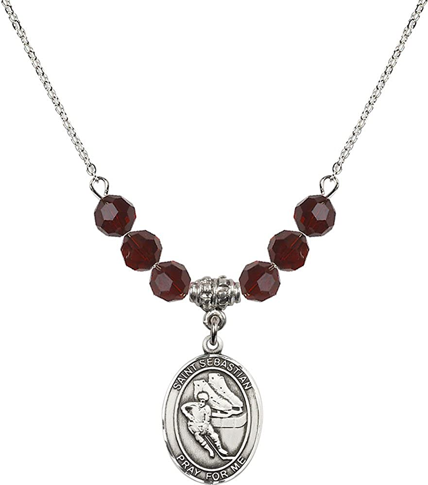Hockey Charm. 18-Inch Rhodium Plated Necklace with 6mm Garnet Birthstone Beads and Sterling Silver Saint Sebastian