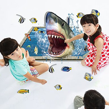 3D Style Shark Fishes Wall Sticker Paper Home Decal - 6