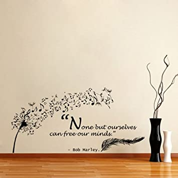 Housewares Vinyl Decal Quote Bob Marley Dandelion Feather Musical ...