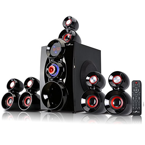 beFree Sound 5.1-Channel Bluetooth Speaker System Black/Red 91592798M